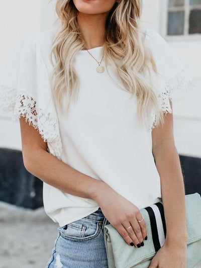 Lace-Paneled Short-Sleeved Chiffon Blouse