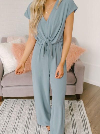 V-neck Button Ties Jumpsuits