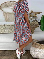 wiccous.com Plus Size Dress V-Neck Printed Short-Sleeved Loose Dress