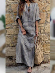 wiccous.com Plus Size Dress Stripe / L Plus Size Cotton Linen Pocket Dress