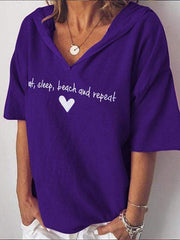 wiccous.com Plus Size Tops Purple / S Plus size letter printed hooded T-shirt