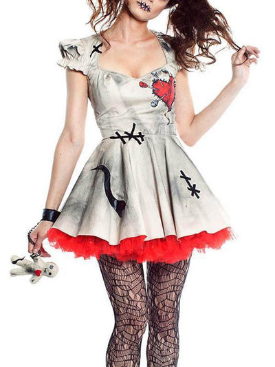 Lady Halloween Ghost Bride Clown Devil Dress