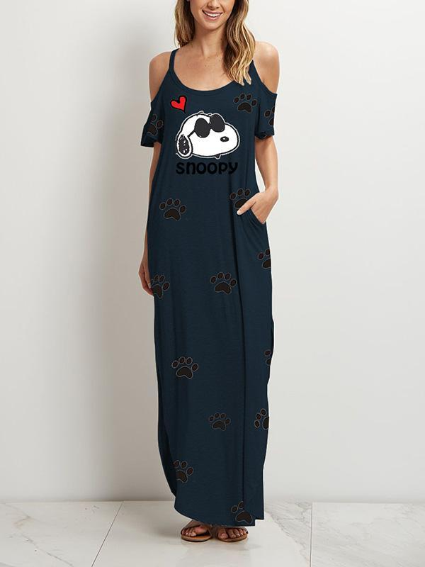 Snoopy Print Off-Shoulder Dress