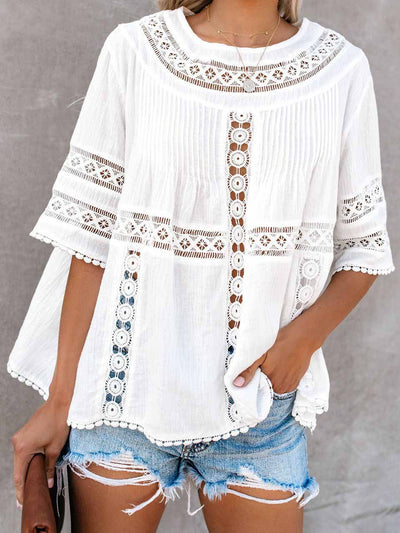 Lace Stitching Openwork Blouse