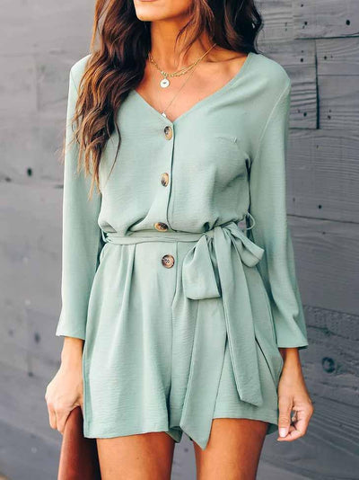 V-Neck Belt Jumpsuit