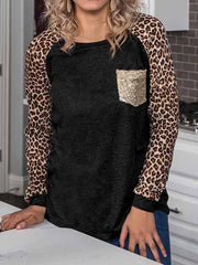 Leopard and Sequin Long Sleeve Shirt
