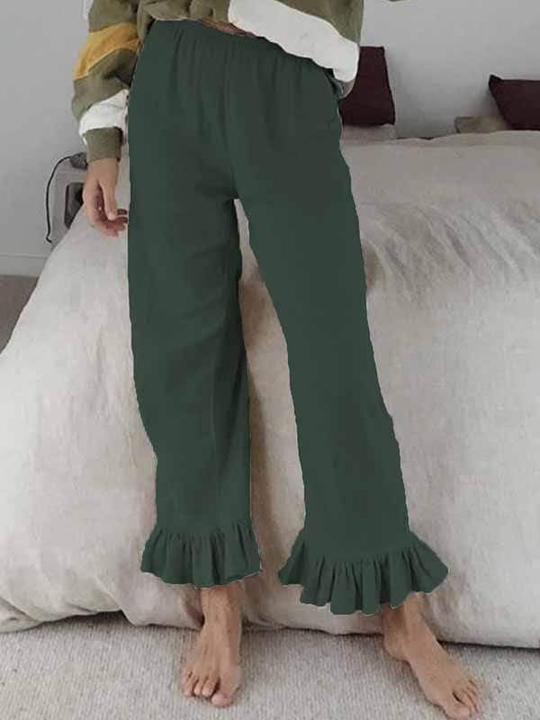 wiccous.com Plus Size Bottoms,Bottoms Green / S Cotton linen ruffled flared pants