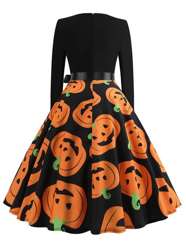 Halloween Printed Long Sleeve Dress With Belt