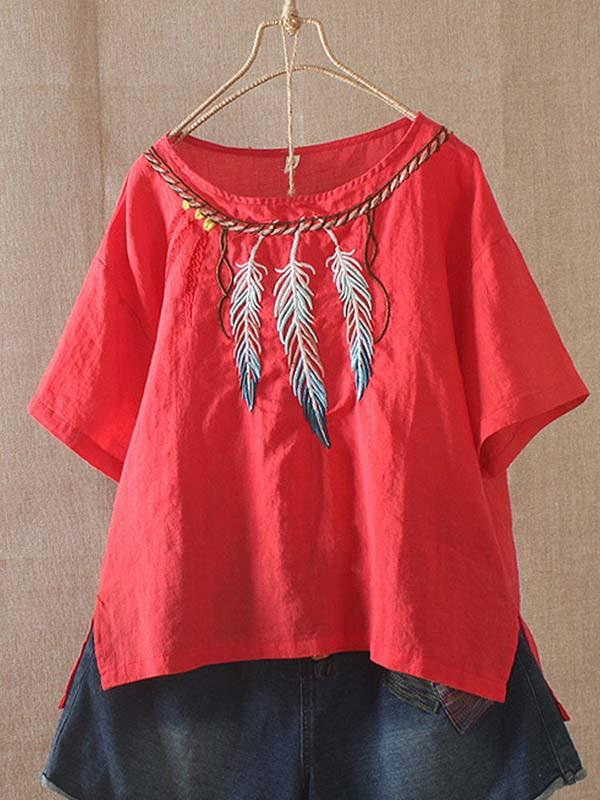Vintage Feather Embroidered T-Shirt