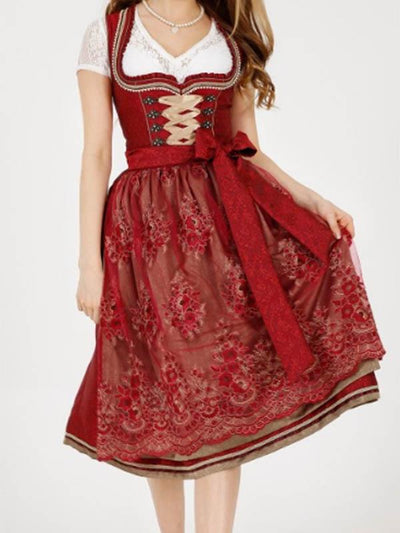 Red Lace Maid Princess Dress