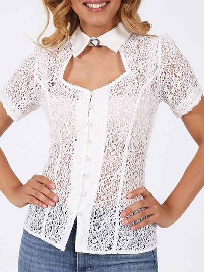 Women's White Short Sleeve Lace Shirt