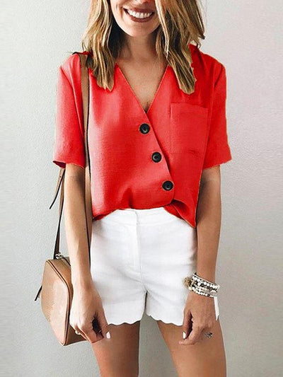 V-neck Irregular Button Blouses