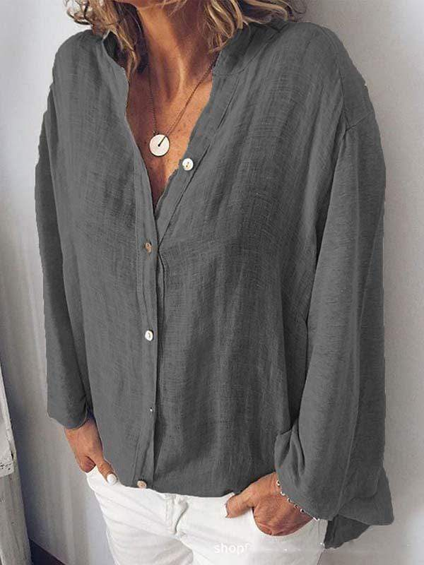 wiccous.com Plus Size Tops Dark Gray / L Plus Size Solid Color Button Collar Shirt