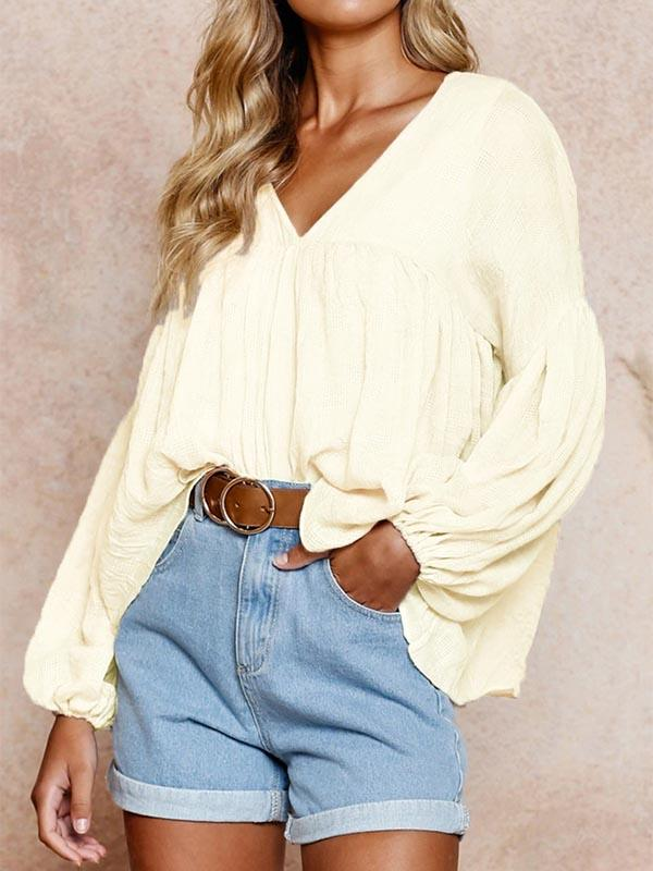 Fashion V-Neck Long-Sleeve Shirt