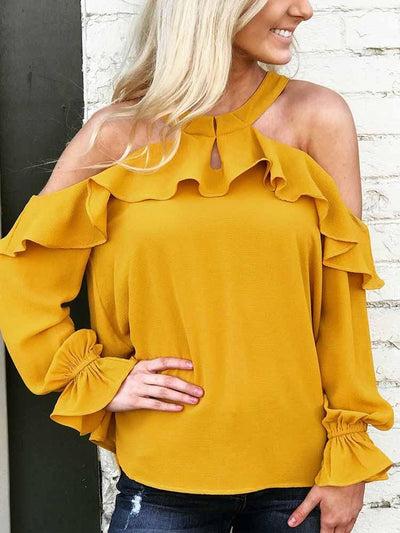 Ruffled Off-The-Shoulder Round Neck Long-Sleeved Blouse