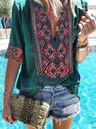 V-Neck Geometric Printed Blouses