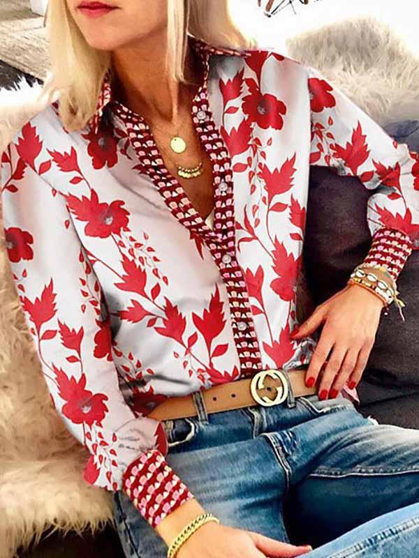 Vintage Printed Suit Collar Long Sleeve Shirt