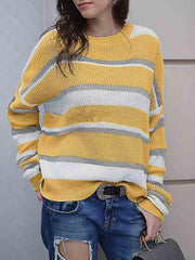 Round Neck Striped Sweater