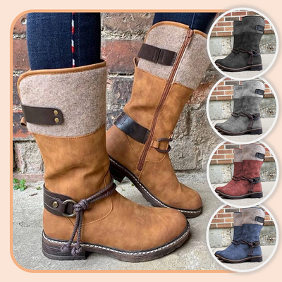 Women's Vintage Color Round Head Boots