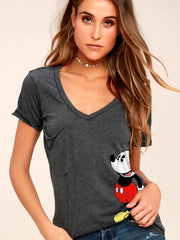Mickey Mouse V-neck Short Sleeve T-shirt TOP