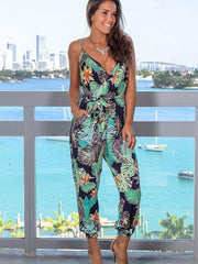 Tropical Leaf Printed Jumpsuit