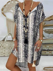 wiccous.com Plus Size Dress Black / S V-Neck Printed Short-Sleeved Loose Dress