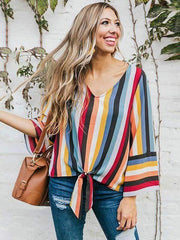 wiccous.com Plus Size Tops Red / L Plus size rainbow printed striped shirt