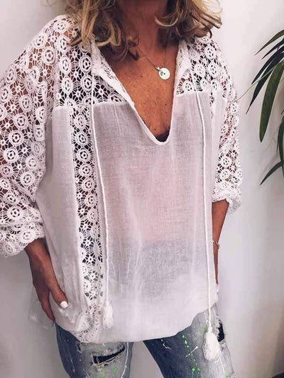 wiccous.com Blouses White / S Lace stitching V-neck tassel tie white shirt