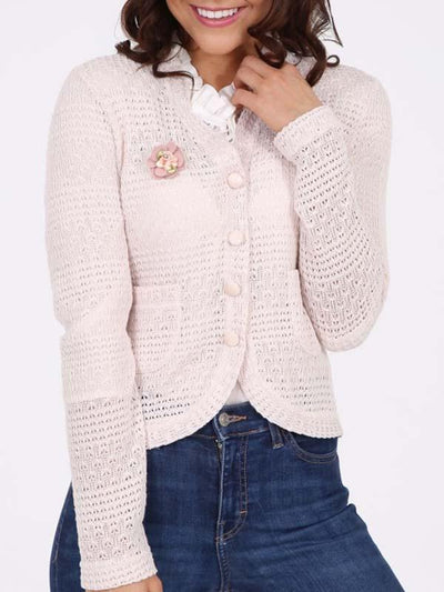 Flower Button Knit Coat