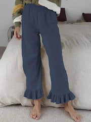 wiccous.com Plus Size Bottoms,Bottoms Blue / S Cotton linen ruffled flared pants