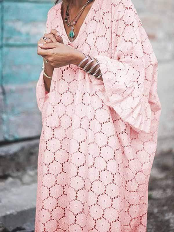 wiccous.com Plus Size Dress Pink / S Loose Lace Trumpet Sleeve Long Dress