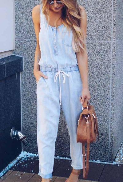 Tie Sleeveless Denim Jumpsuit