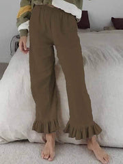 wiccous.com Plus Size Bottoms,Bottoms Brown / S Cotton linen ruffled flared pants