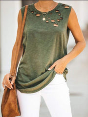 wiccous.com Tanks Army Green / S Cut It Out Cotton Distressed Tank