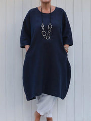 Vintage Round Neck Solid Color Sleeve Dress