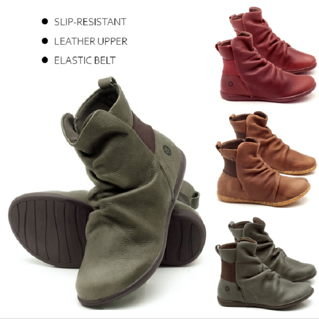 Women's plain leather comfortable flat round head elastic band boots