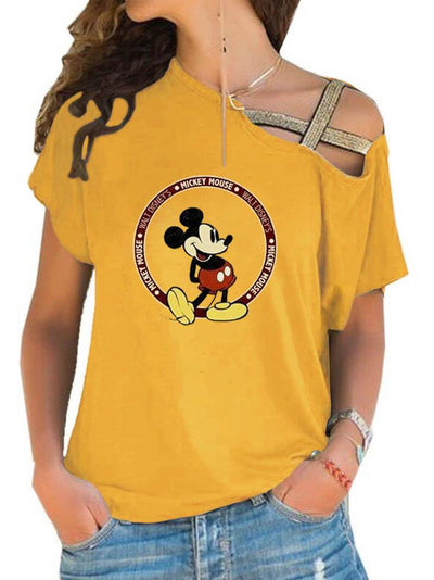 Mickey Mouse Off-The-Shoulder Bandage T-shirt