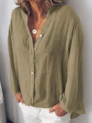 wiccous.com Plus Size Tops Army Green / L Plus Size Solid Color Button Collar Shirt