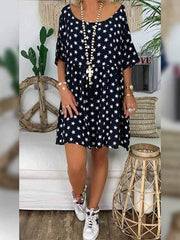 wiccous.com Plus Size Dress Black / L Plus size star print dress