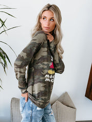 Mickey Mouse Camouflage Off-The-Shoulder Long Sleeve Sweater