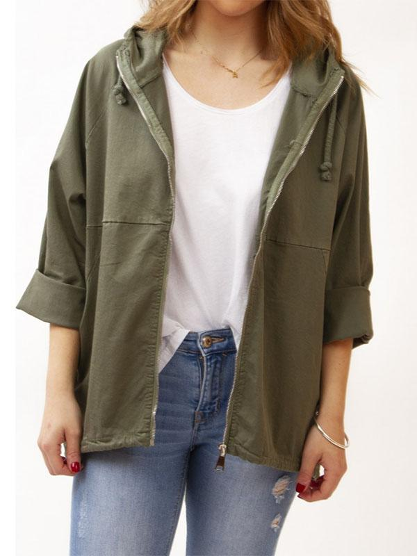 Hooded Drawstring Casual Coat