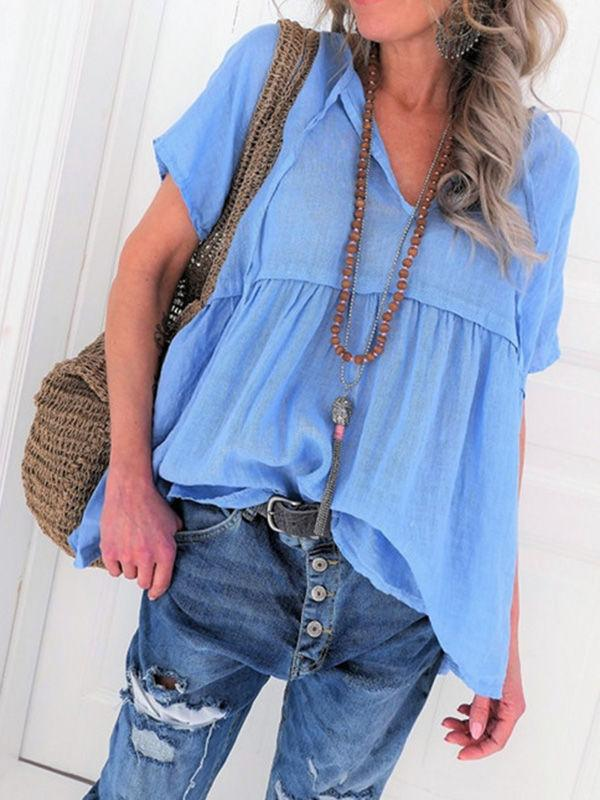 V-neck Cotton Ties Blouses