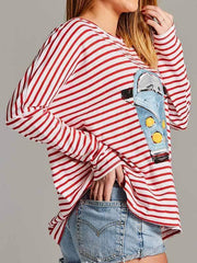 wiccous.com Plus Size Tops Striped Car Print Long Sleeve Top