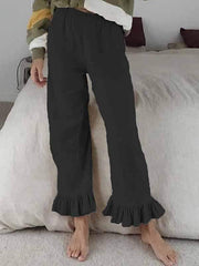wiccous.com Plus Size Bottoms,Bottoms Black / S Cotton linen ruffled flared pants