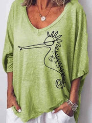 wiccous.com Plus Size Tops Green / S Hippocampus Printed Loose T-Shirt