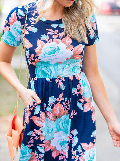 Floral Printed Short Sleeve Maxi Dress