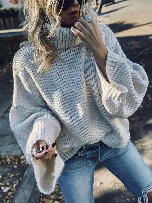 Modern High Collar Solid Color Long Sleeve Sweater