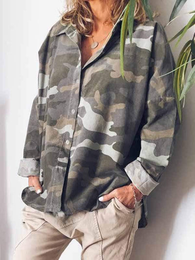 wiccous.com Plus Size Tops CAMOUFLAGE / L Large size Camouflage Coat