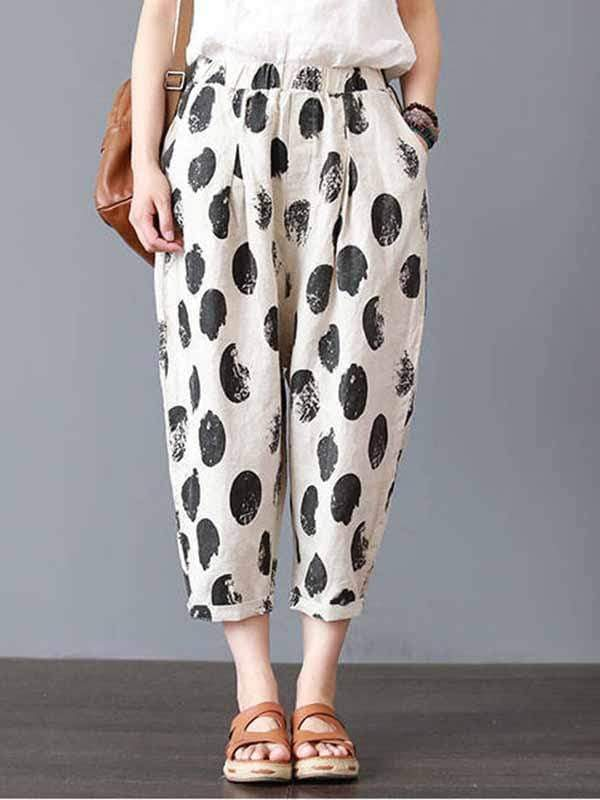 wiccous.com Plus Size Bottoms Black Spotted / L Plus size printed casual pants