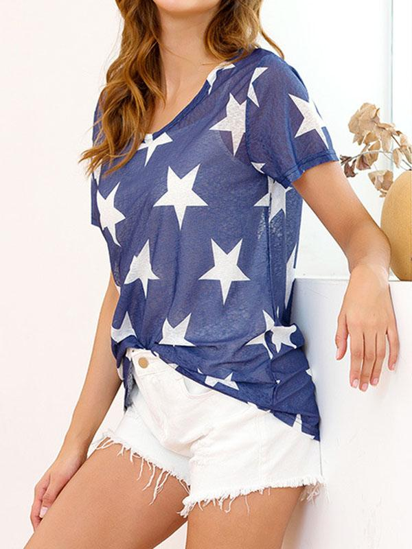 Star Printed Knot Top